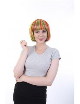 Neon Rainbow Bob Wig