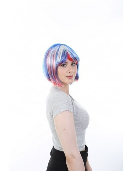 Red White And Blue Stripe Bob Wig