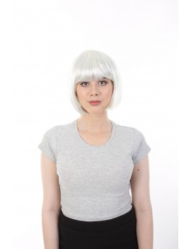 Bleached White Bob With Silver Tinsel Wig