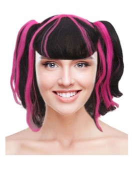 Creepy Cutie Pigtails Black Pink Wig