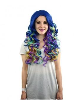 Aqua Ombre Mardi Gras Wig