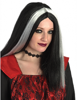 Morticia Black White Streaked Wig