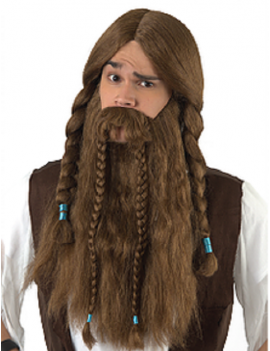 Viking Brown Beard And Wig Set