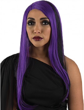Witch Fringeless Black And Purple Long Wig