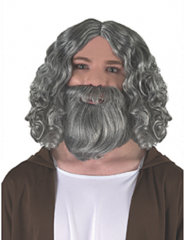 Biblical Figure Beard And Wig Set Grey
