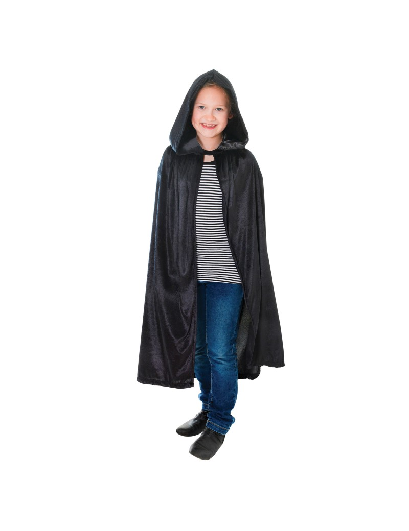 Velvet Hooded Cloak Black