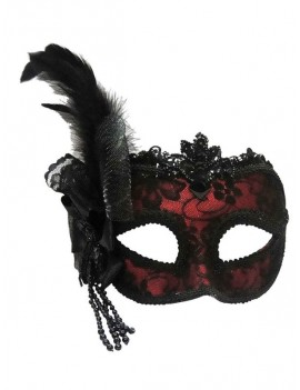 Venetian Red Side Feather Eye Mask Bristol Novelty EM447