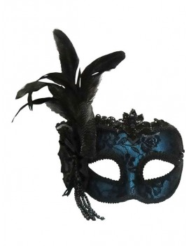 Venetian Blue Side Feather Eye Mask Bristol Novelty EM448