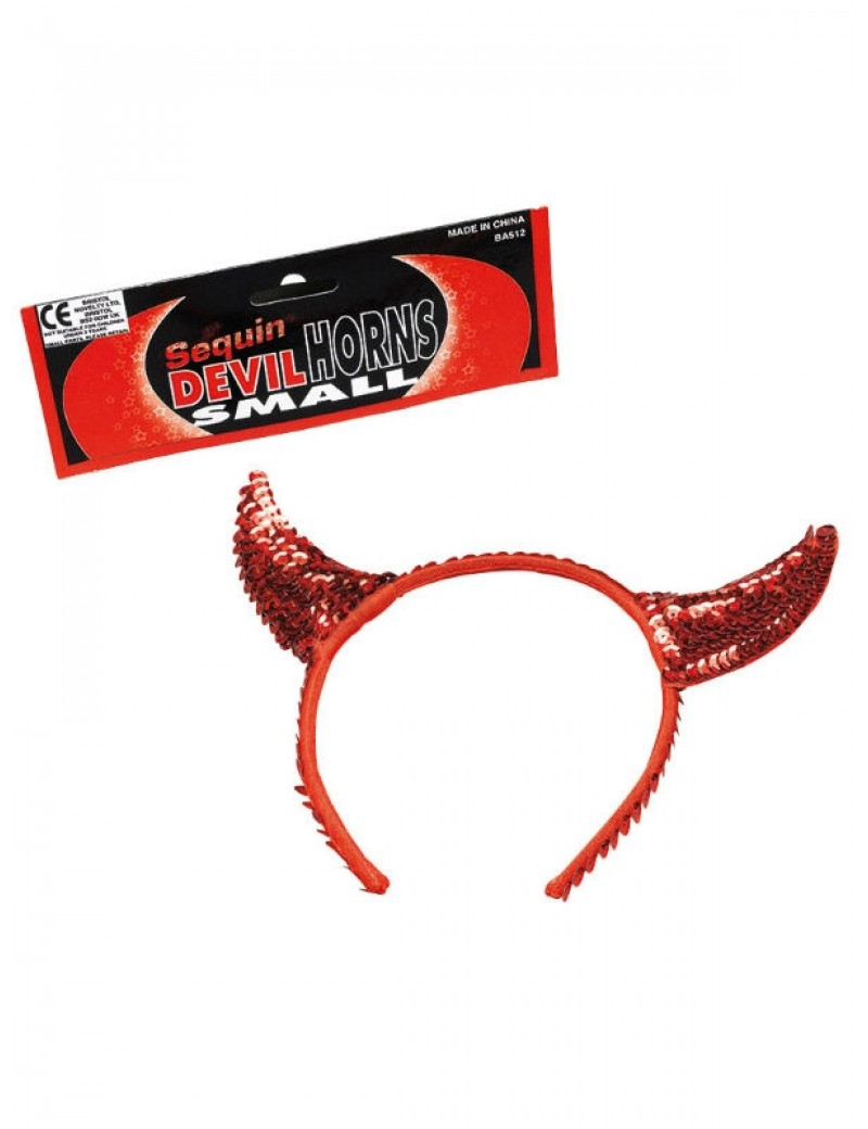 Red Sequin Devil Horns on headband Bristol Novelty BA512