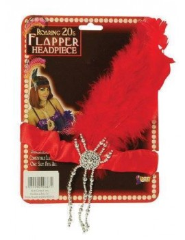 1920s Flapper Headband Red