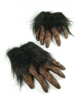 Hairy hands rubber moulded horror gloves brown Bristol Novelty MD162