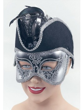 Venetian Pirate glitter eye mask Silver Black Georgian Masquerade Ball accessory  Bristol Novelty EM167