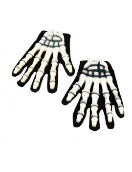 Skeleton rubber 3D moulded horror gloves Bristol Novelty BA403