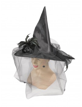 Witch hat black satin with veil Bristol Novelty BH422