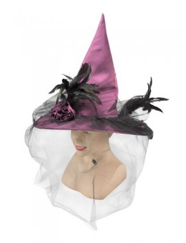 Witch Hat Purple Satin with Veil Bristol Novelty BH423