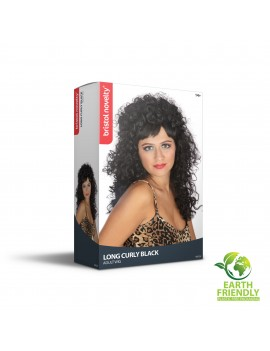 80s Long Black Curly Wig