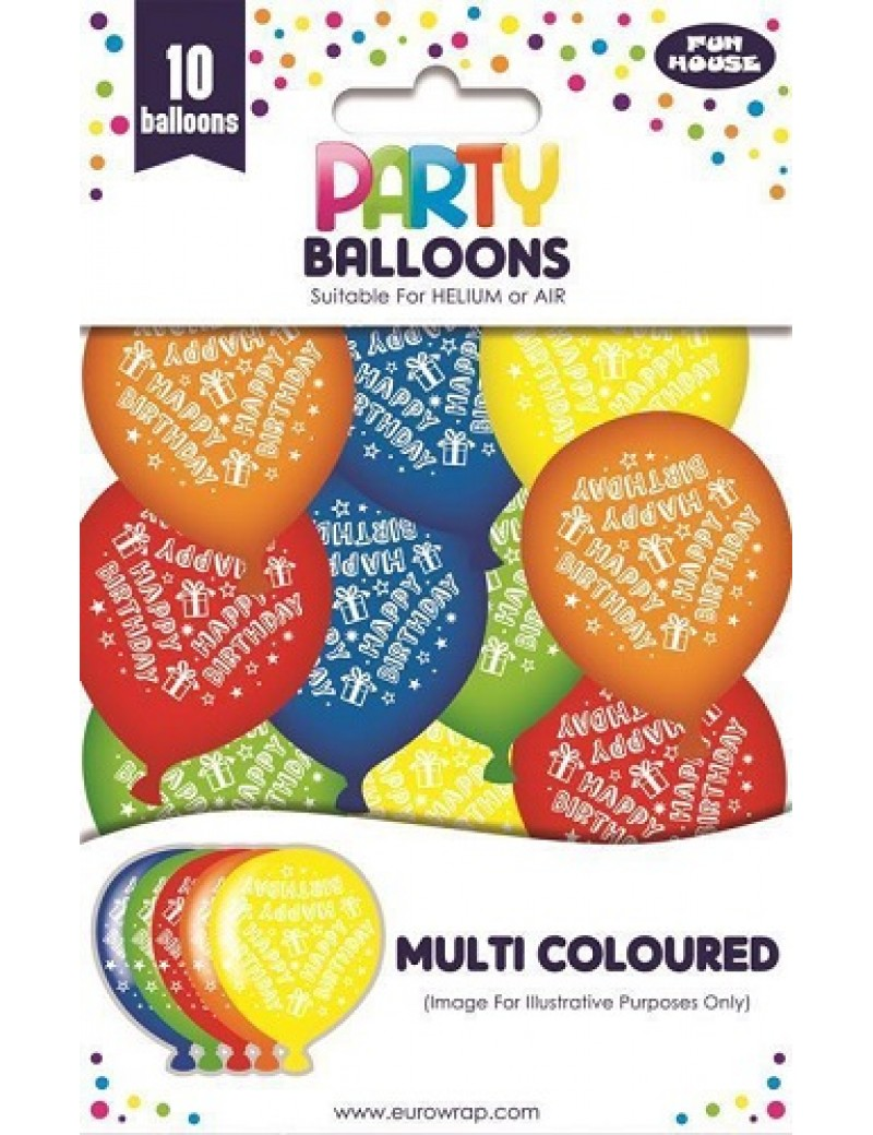 Coloured Latex Balloons Happy Birthday Pack Of 10