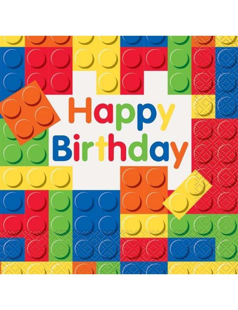 Lego Building Blocks Happy Birthday  Paper Napkins