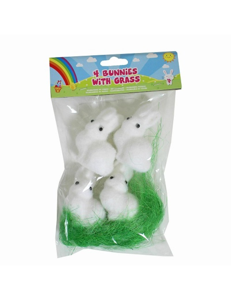 Pack Of 4 Polyfoam Bunnies With Grass
