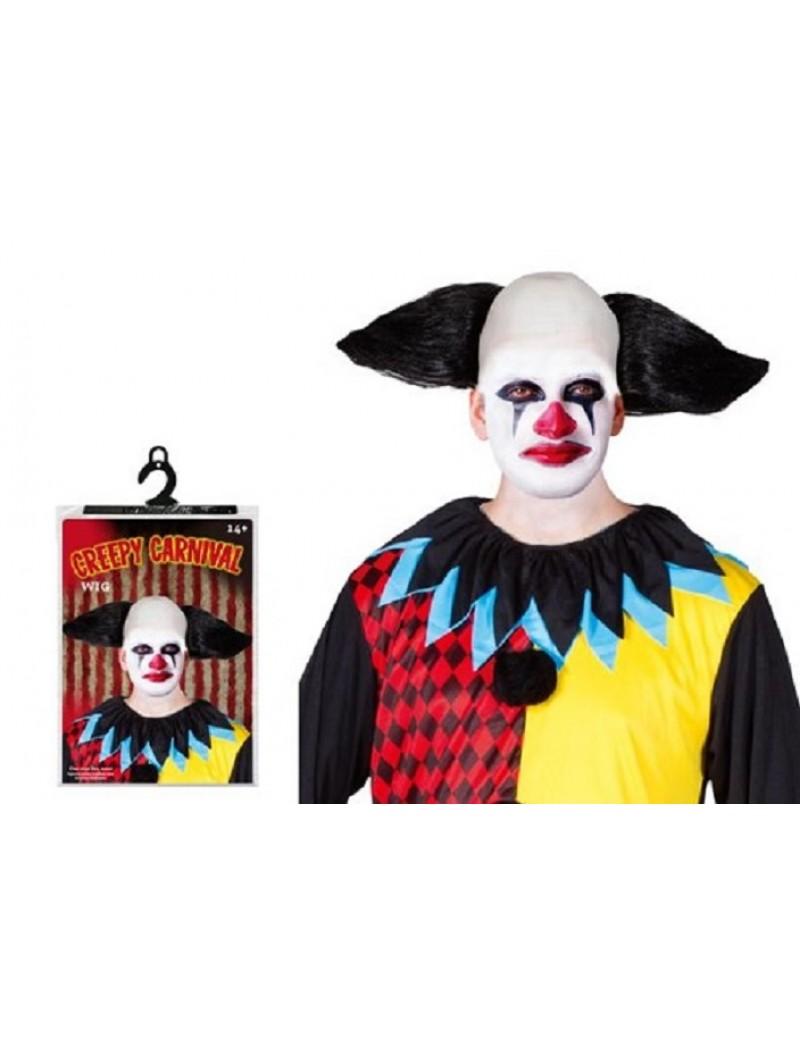 Creepy Carnival Clown Mens Black Wig