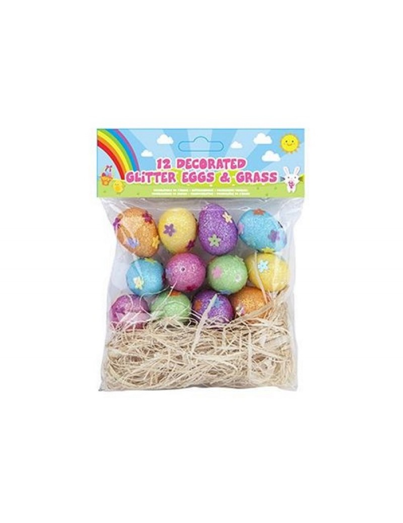 Pack Of 12 Decorated Glitter Eggs And Grass