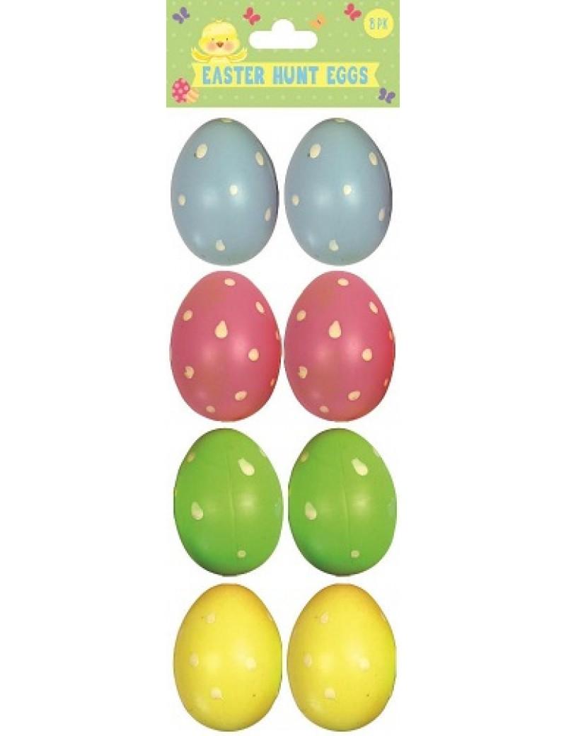 Pack Of 8 Refillable Plastic Easter Hunt Eggs