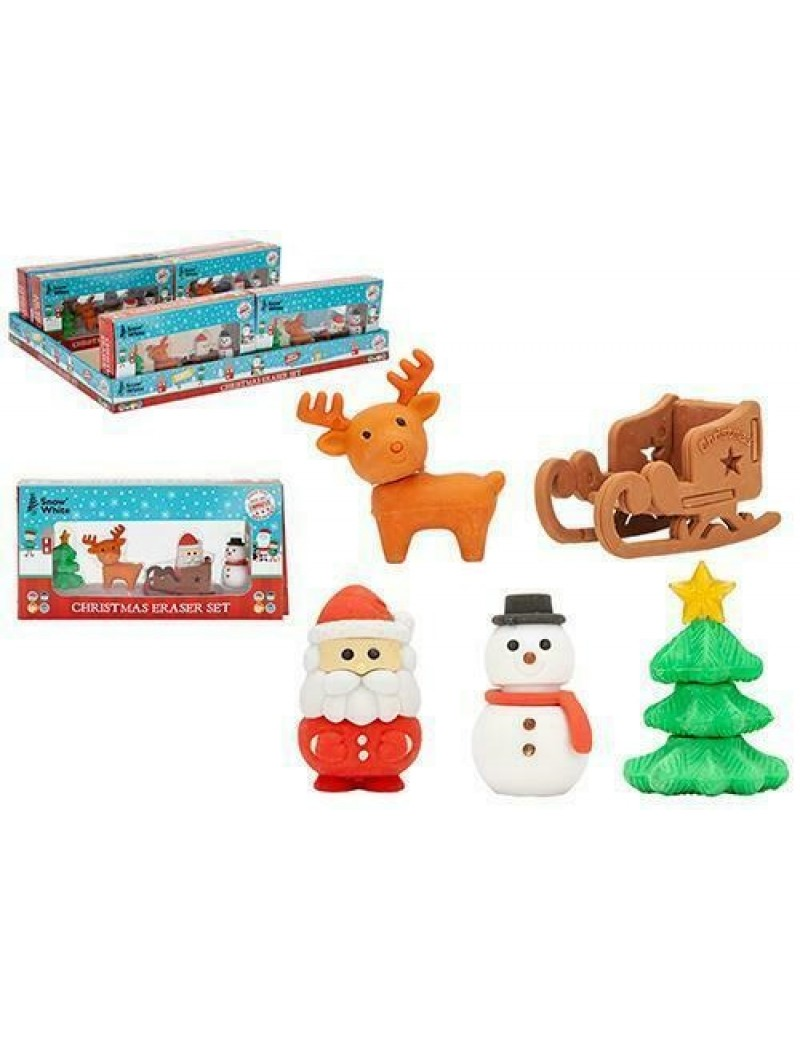 Christmas Eraser Rubbers 5 Piece Set