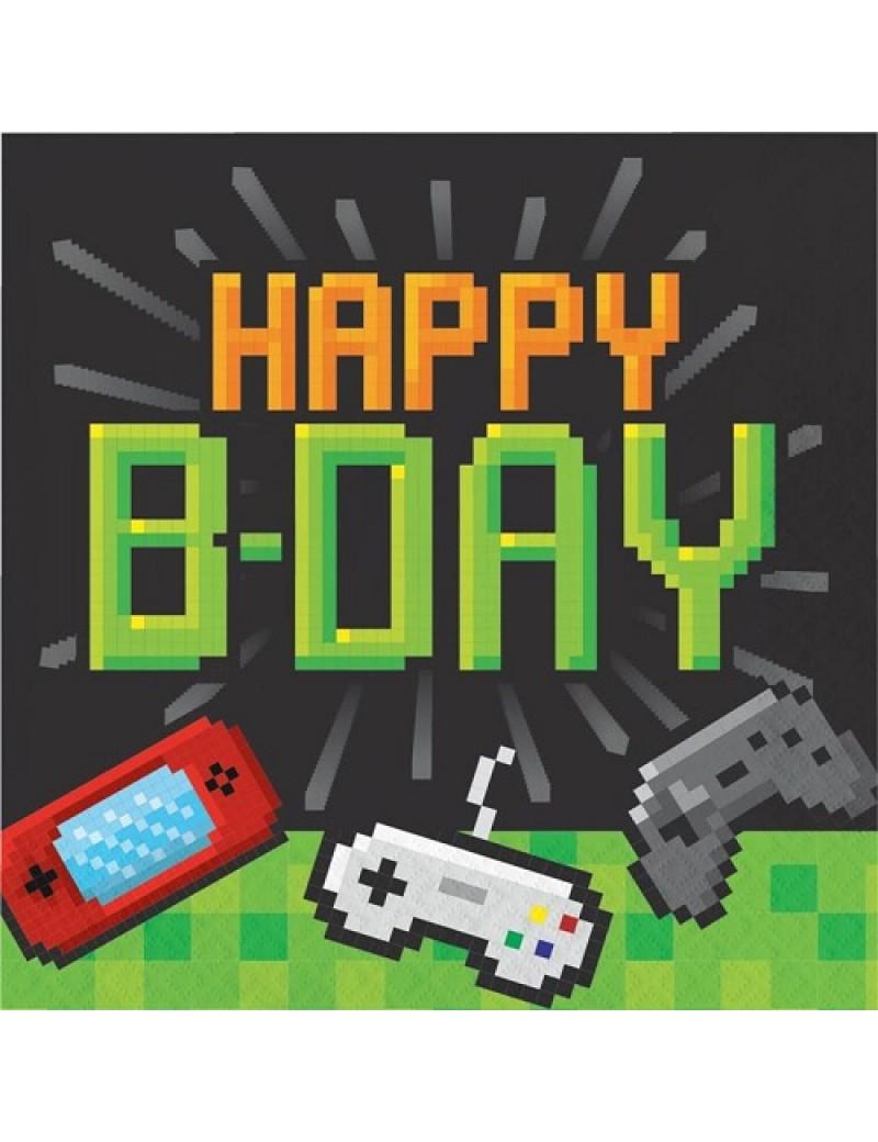 Happy Birthday Video Gaming Paper Napkins