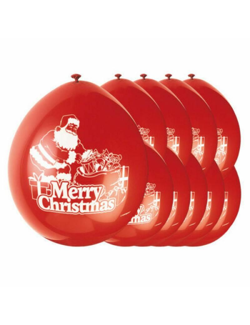 Merry Christmas Santa Latex Balloons Pack Of 10