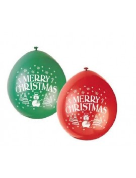 Merry Christmas Snowman Latex Balloons Pack Of 10