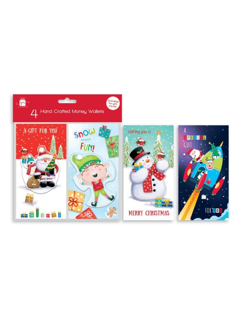 Christmas Cards Money Wallets Pack Of 4