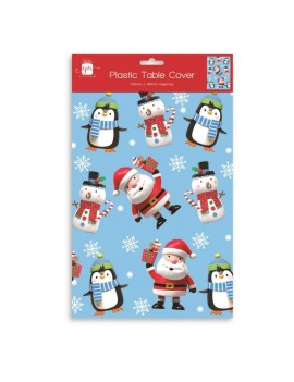 Christmas Santa And Penguin Plastic Tablecloth