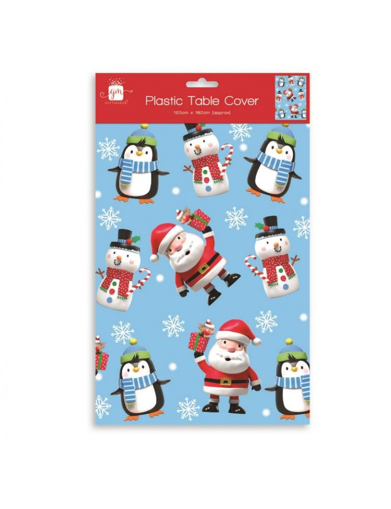 Christmas Santa And Penguin Plastic Tablecloth