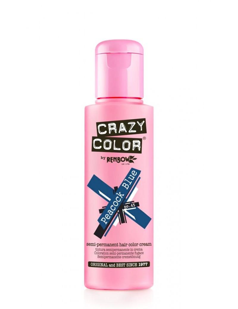 Crazy Color Semi-Permanent Hair Dye 100 ml Peacock Blue