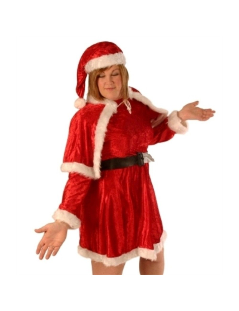 Miss Santa Claus 4 piece red polyester velvet plush Costume XL Creative Collection