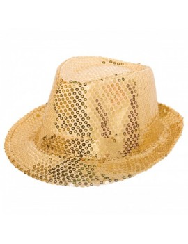 Trilby Sequin Gold mens ladies costume prop hat Folat FO-22530