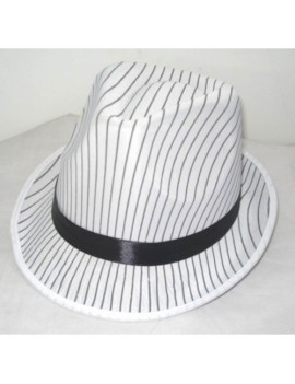 Trilby Pork Pie Hat White And Black Pin Stripe Creative Collection H7751-W