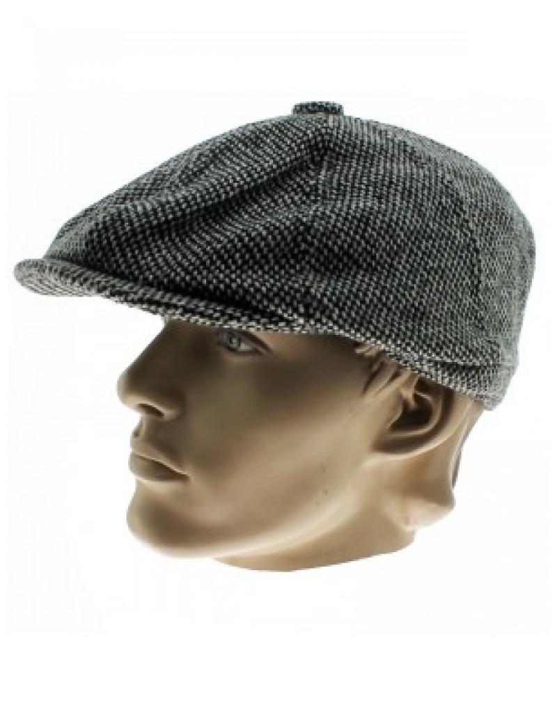 Herringbone Tweed Cap Grey