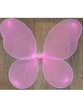 Pink Silver Glitter Fairy Wings