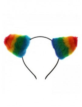 Gay Pride Rainbow Furry Cat Ears 64859