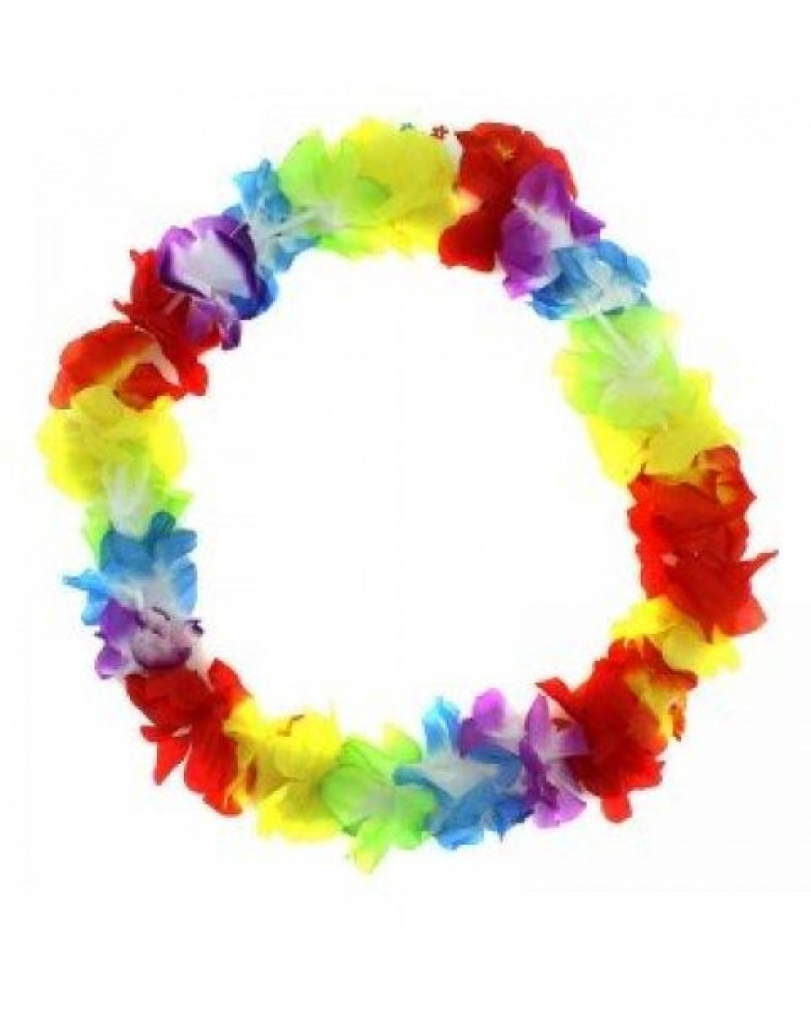 Leis Hula Flower Garlands Beach Party Necklace Rainbow Tropical Flowers