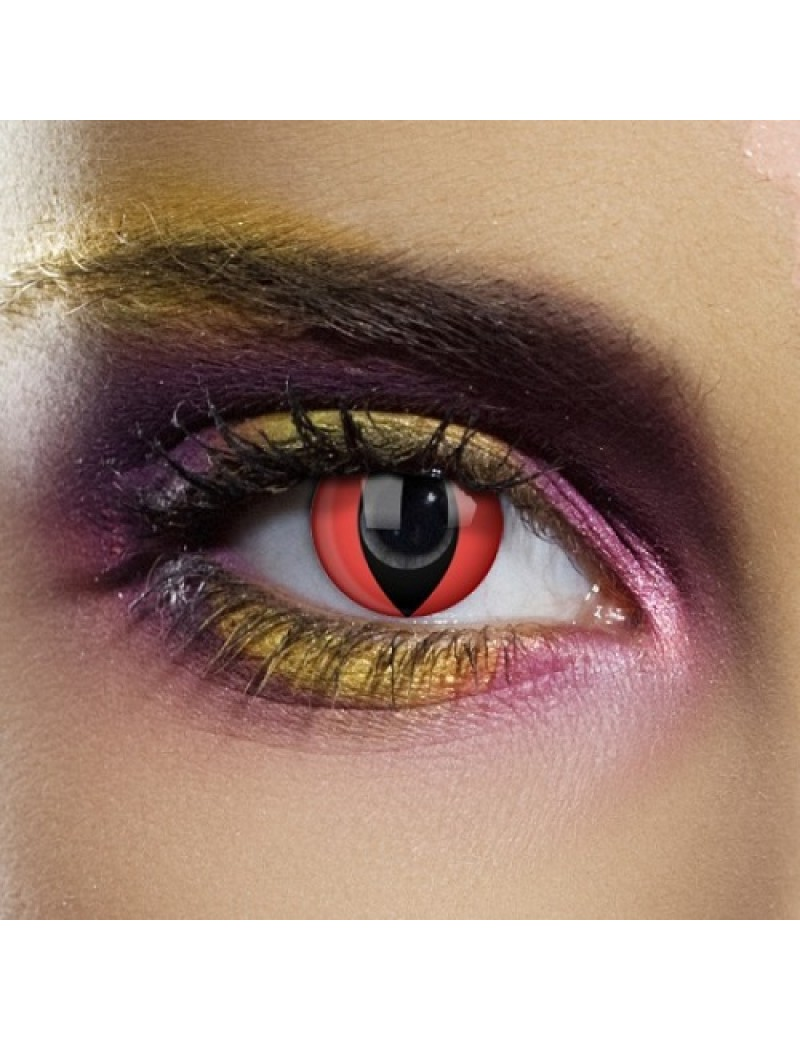 Red Cat Eye 1 Day Coloured Contact Lenses