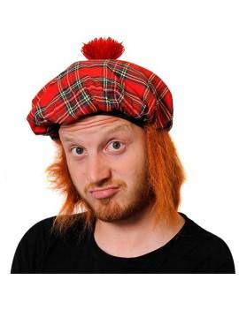 Tam O Shanter Scottish Tartan Hat With Ginger Hair