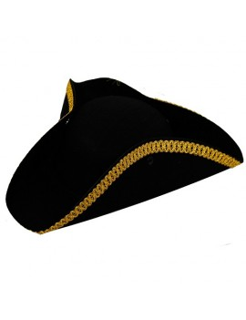 Tricorn Hat Black Gold Trim