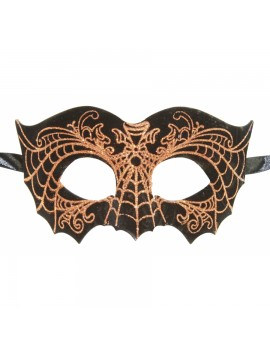Eyemask Faux Leather Bat Black And Gold Web LTM007GD