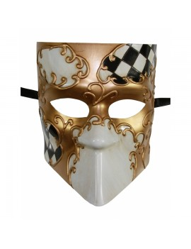 Checkered Full Face Mask 2 Tone Black Gold PM034BK