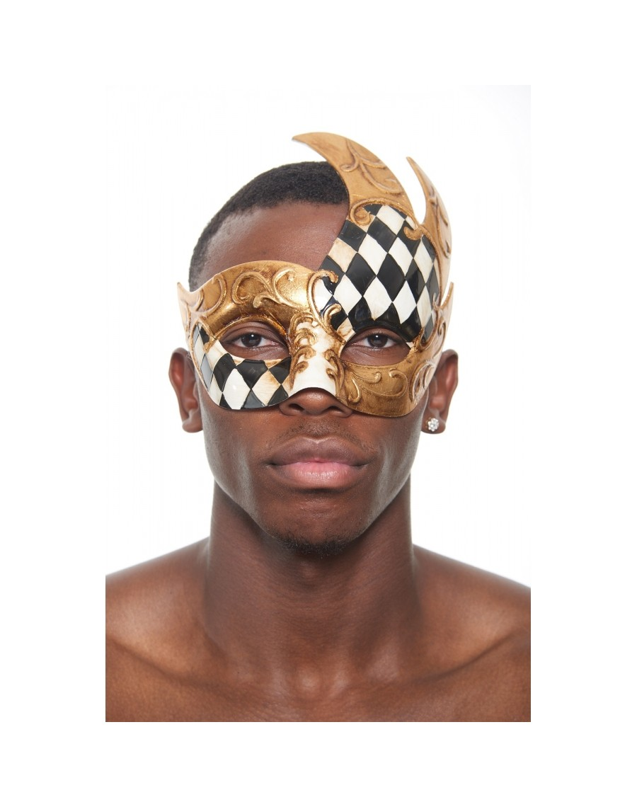 Harlequin Checkered Traditional Venetian Masquerade Ball Adult Full Face Mask