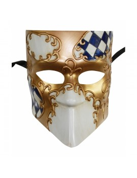 Checkered Full Face Mask 2 Tone Blue Gold PM034BL
