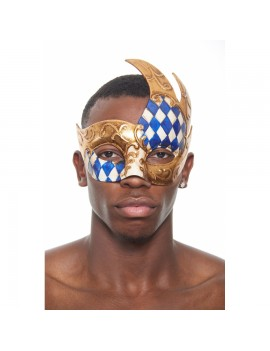 Eyemask Checkered 2 Tone Blue Gold PM022BL