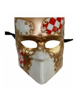 Checkered Full Face Mask 2 Tone Red Gold PM034RD